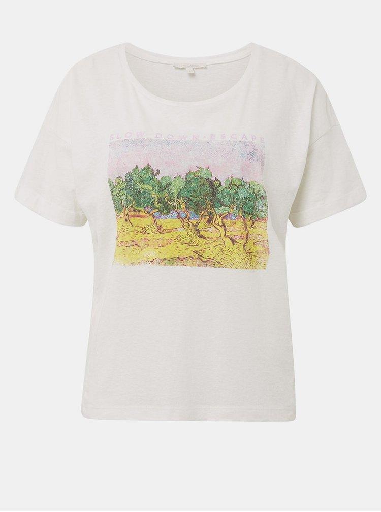Biele dámske tričko s potlačou Tom Tailor Denim