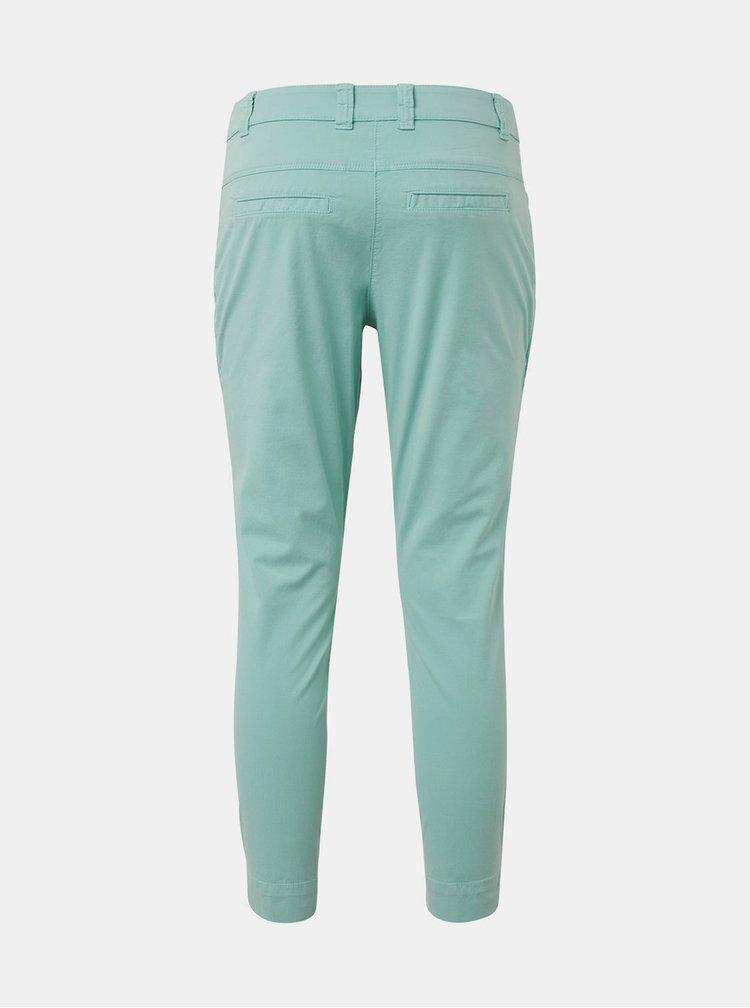 Světle zelené dámské zkrácené slim fit chino kalhoty Tom Tailor