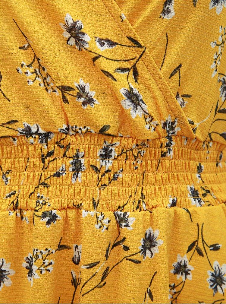 Hořčicové květované midišaty ONLY Pella