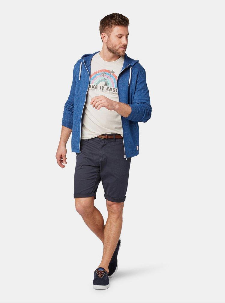 Pantaloni scurti barbatesti albastru inchis slim fit chino Tom Tailor