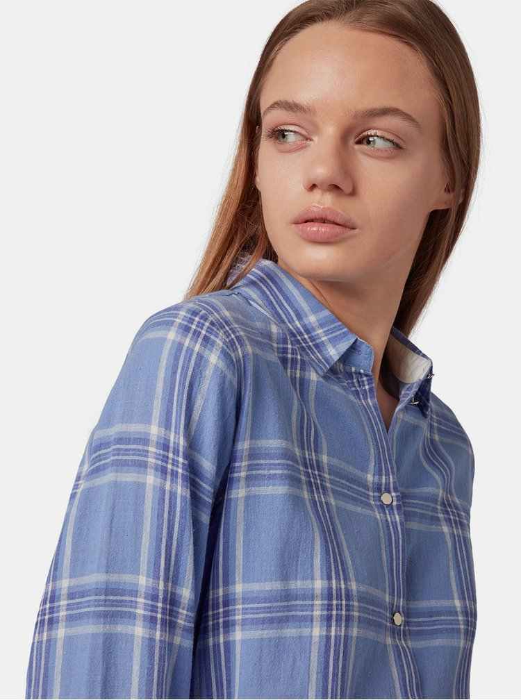 Modré košilové kostkované šaty s příměsí lnu Tom Tailor Denim
