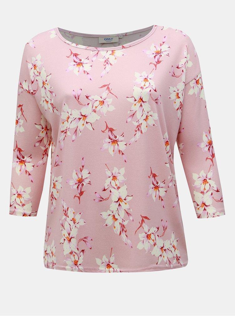 Ružové kvetované tričko ONLY CARMAKOMA Alba