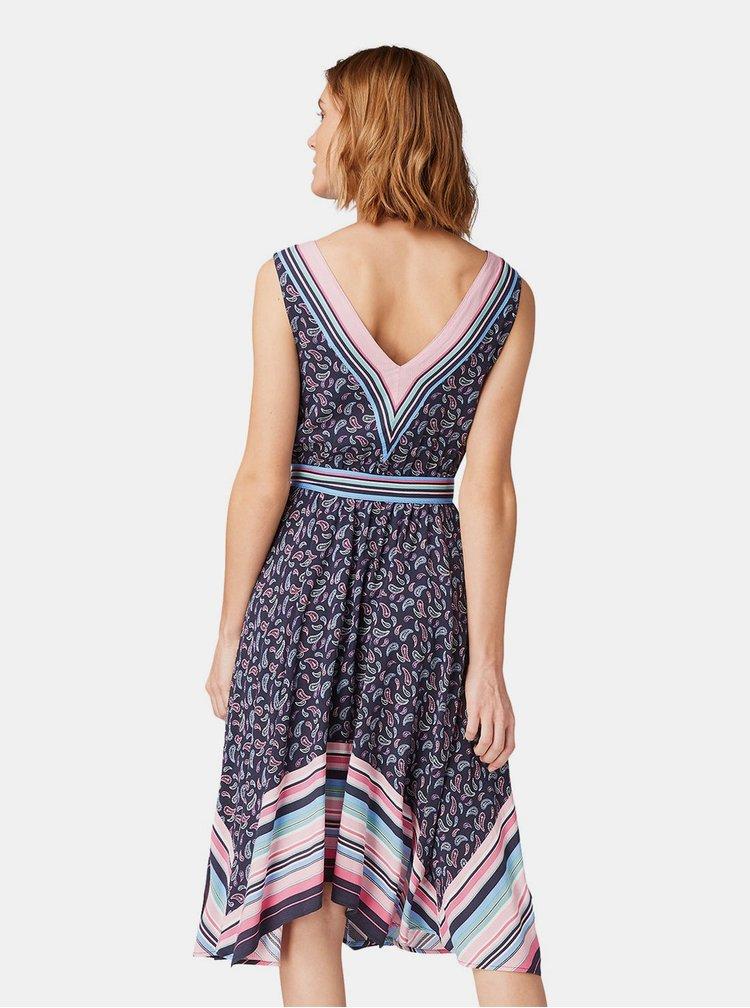 Tmavě modré vzorované šaty Tom Tailor