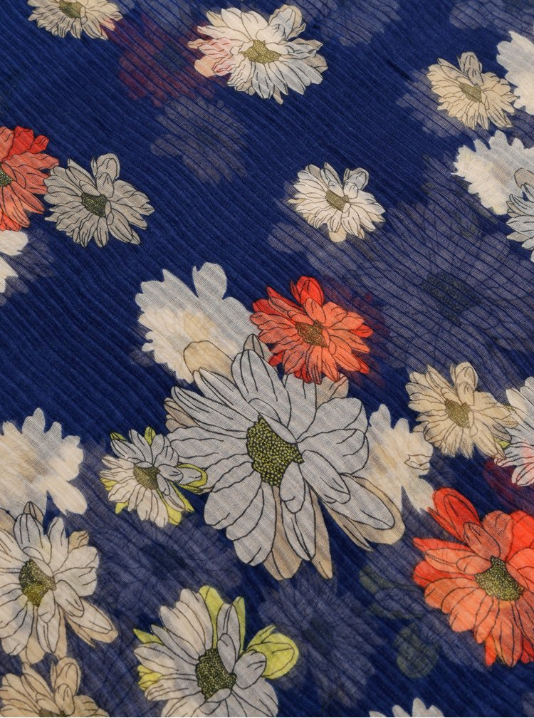 Esarfa albastru inchis florala ONLY Shining