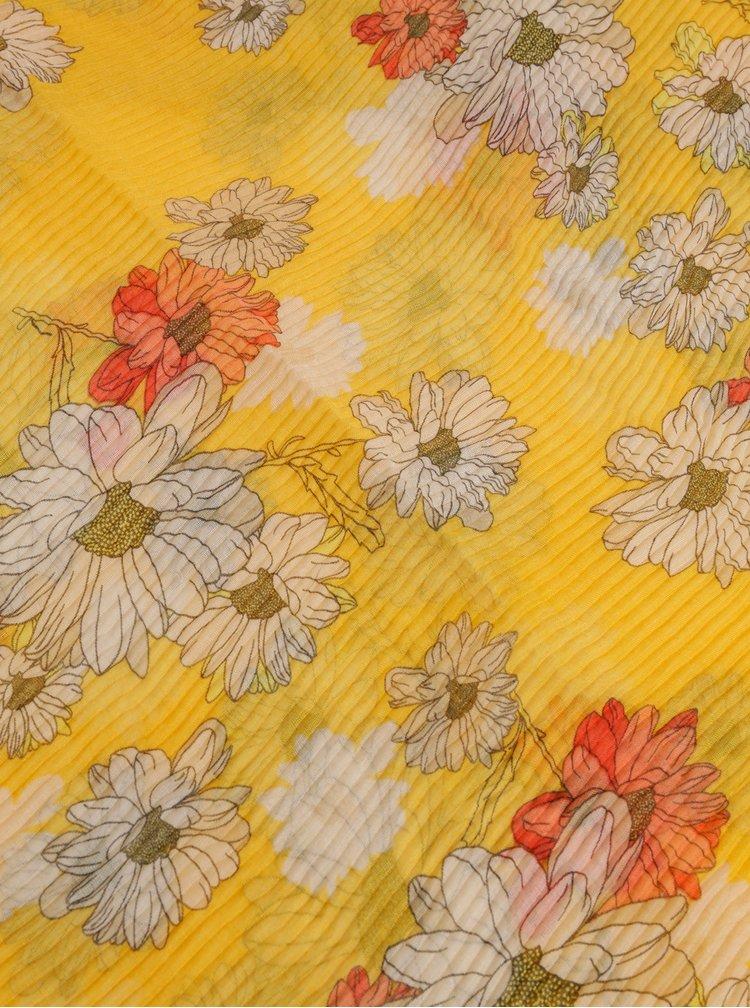 Hořčicový květovaný šátek ONLY Shining