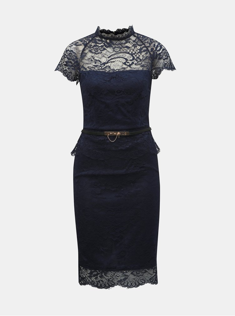 Tmavomodré čipkované puzdrové šaty s volánom Paper Dolls
