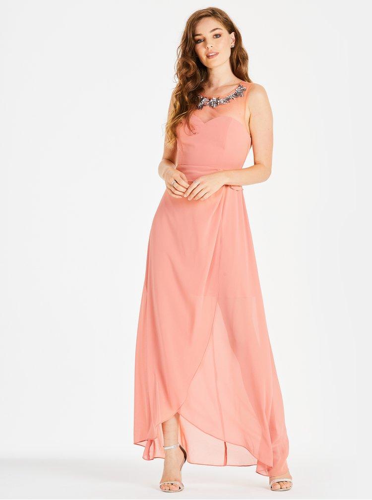 Rochie maxi roz piersica cu catarama decorativa Little Mistress