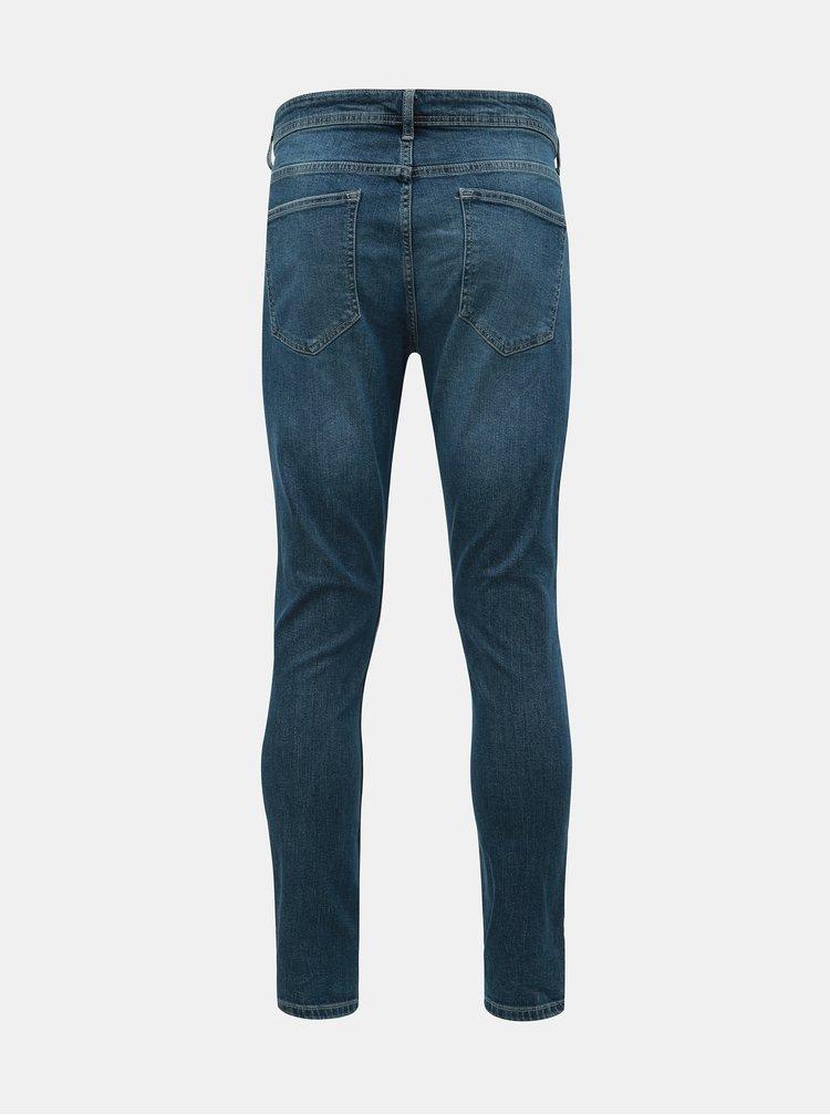 Blugi albastri skinny fit cu aspect uzat Burton Menswear London