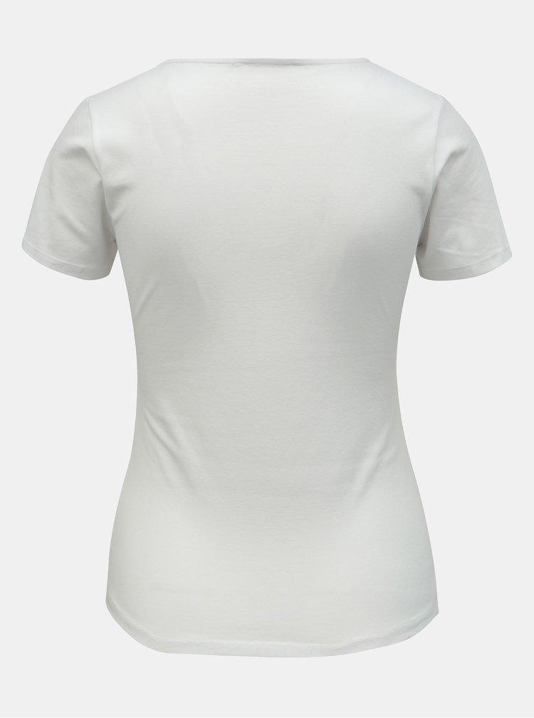 Bílé tričko s pásky v dekoltu TALLY WEiJL
