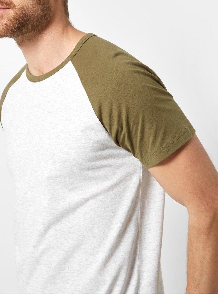 Zeleno-šedé žíhané basic tričko Burton Menswear London