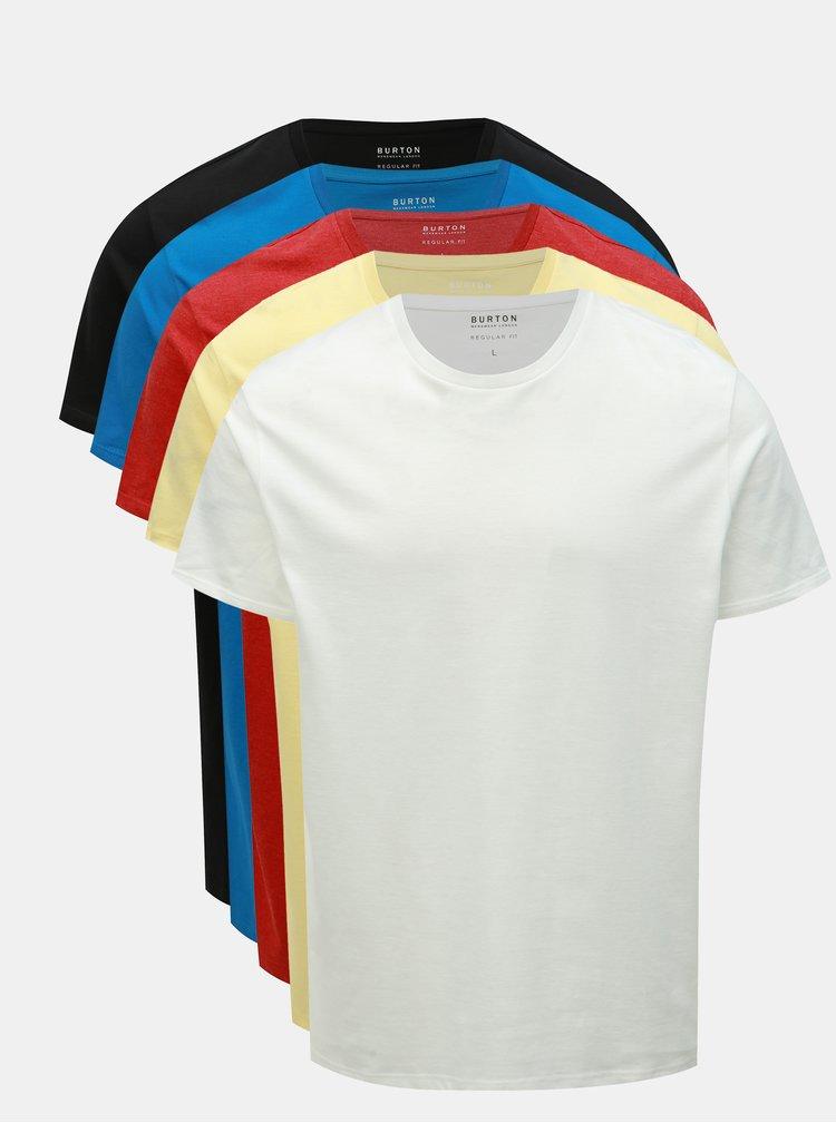 Set de 5 tricou basic multicolore regular fit Burton Menswear London