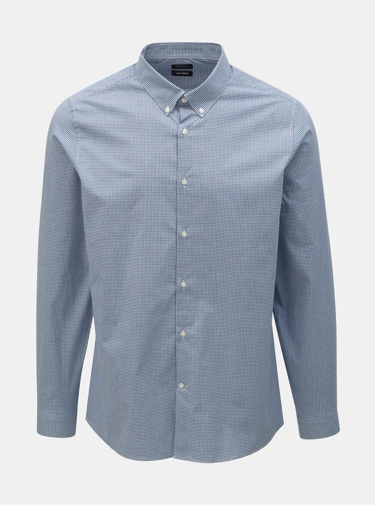 Camasa albastru deschis in carouri skinny fit Burton Menswear London