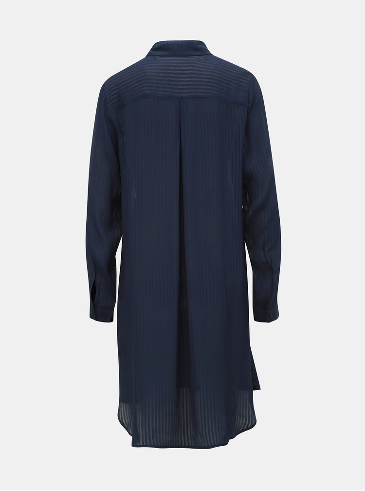 Tmavomodrá dámska pruhovaná dlhá košeľa Tom Tailor Denim
