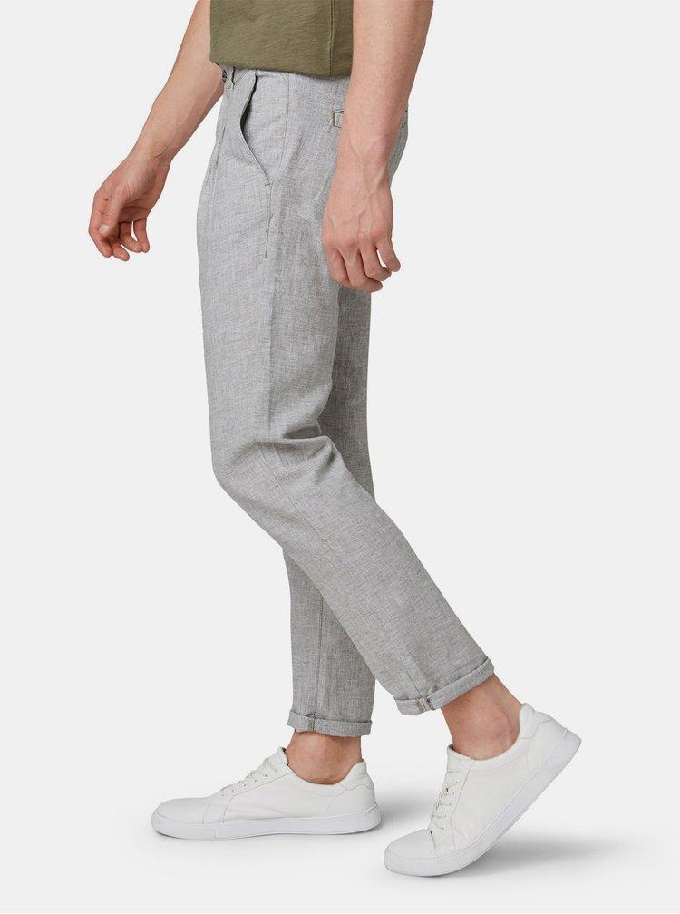 Svetlosivé pánske melírované chino nohavice s prímesou ľanu Tom Tailor Denim