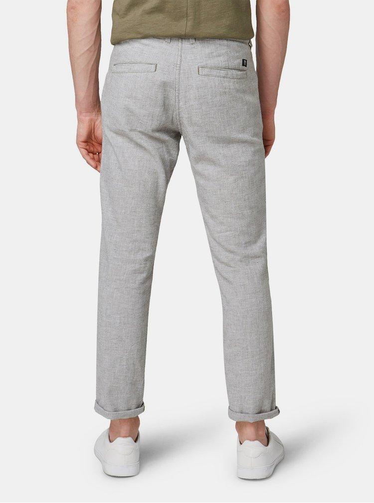 Světle šedé pánské žíhané chino kalhoty s příměsí lnu Tom Tailor Denim