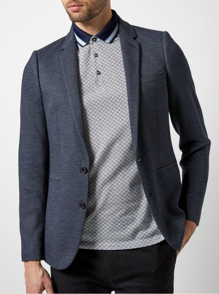 Tricou polo gri cu model Burton Menswear London