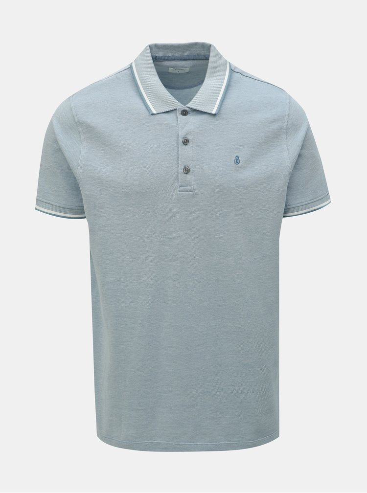 Tricou polo albastru deschis melanj Burton Menswear London
