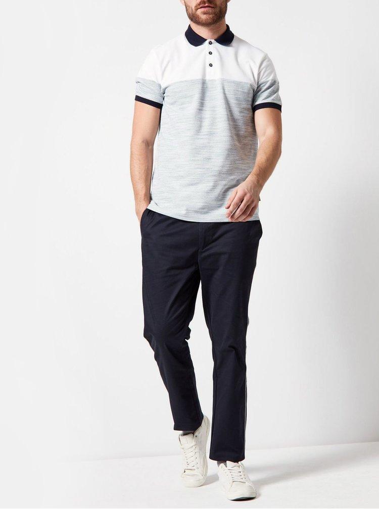Tricou polo alb-gri melanj Burton Menswear London