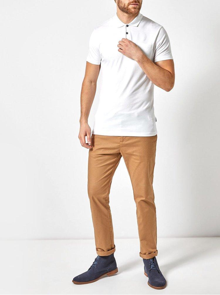 Bílé basic polo tričko s kapsou Burton Menswear London