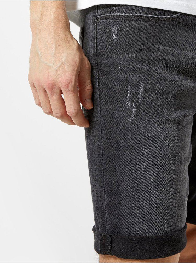 Pantaloni scurti gri inchis din denim Burton Menswear London
