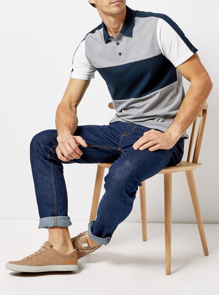 Modro-šedé polo tričko Burton Menswear London