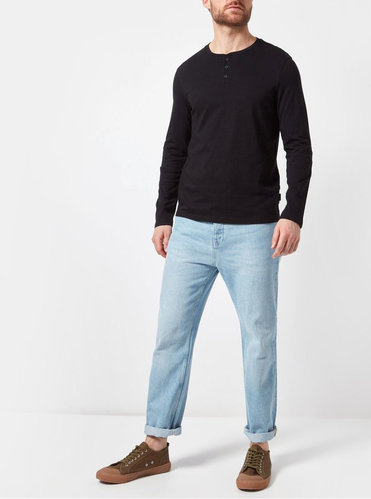 Tricou negru regular fit cu nasturi Burton Menswear London
