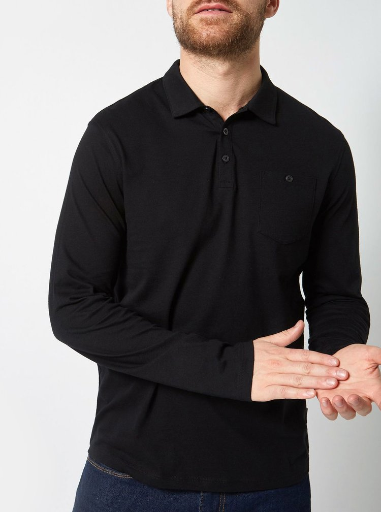 Set de 2 tricou polo negru si alb regular fit Burton Menswear London