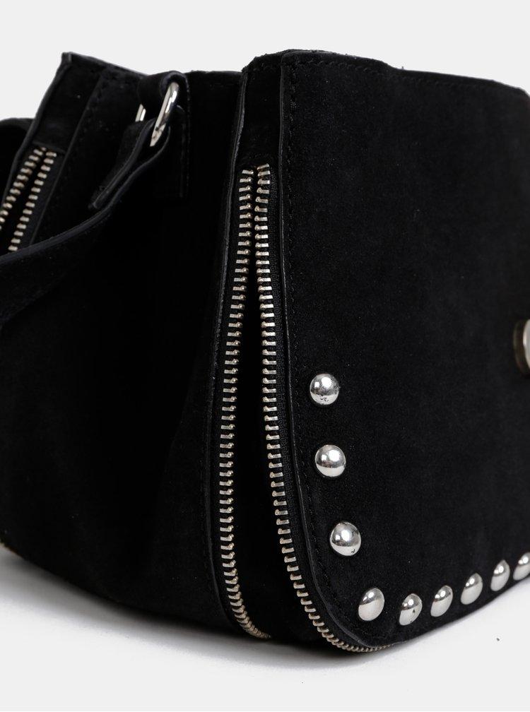Černá kožená crossbody kabelka Pieces Elisia