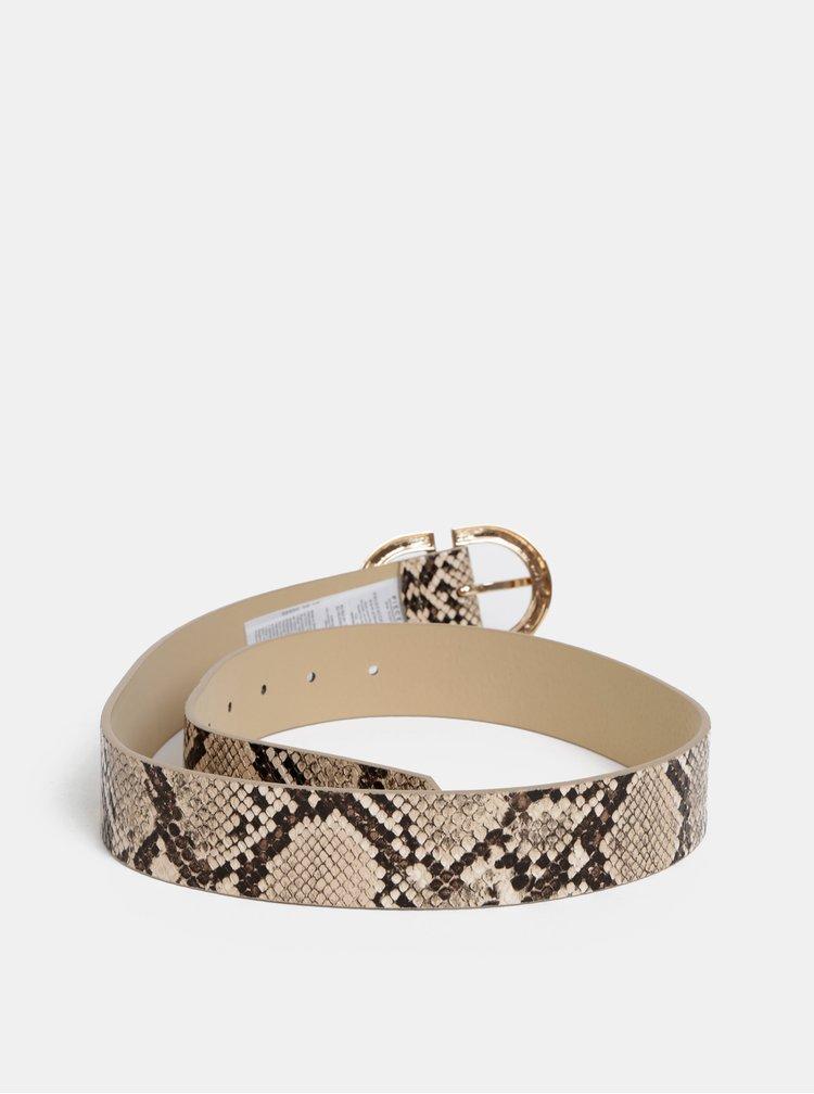 Béžový pásek s hadím vzorem Pieces Ami