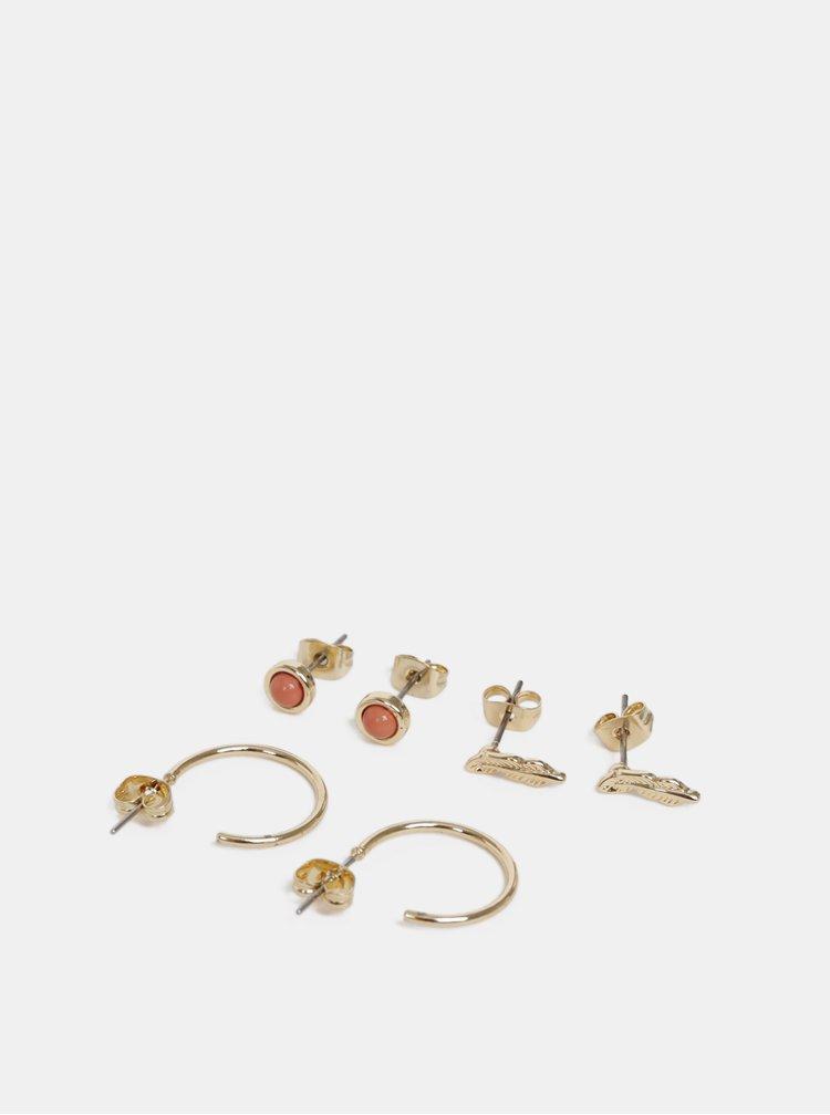 Kolekcia troch párov náušníc v zlatej farbe Pieces Cilja