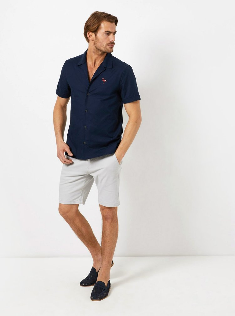 Tmavě modrá košile s výšivkou Burton Menswear London