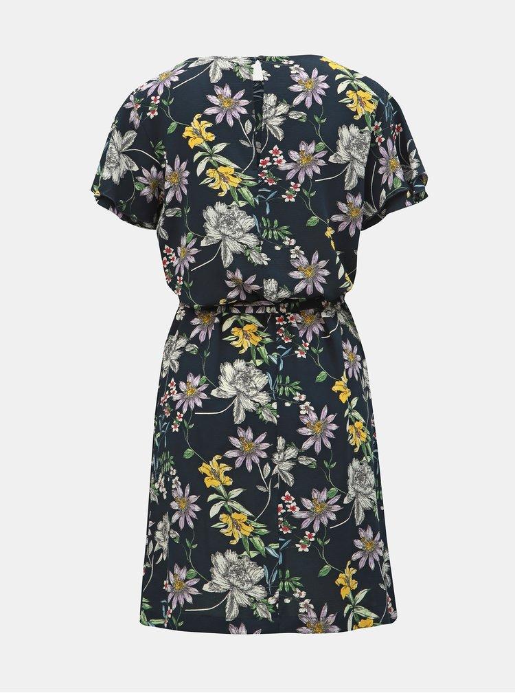 Tmavě modré květované šaty Jacqueline de Yong Trick