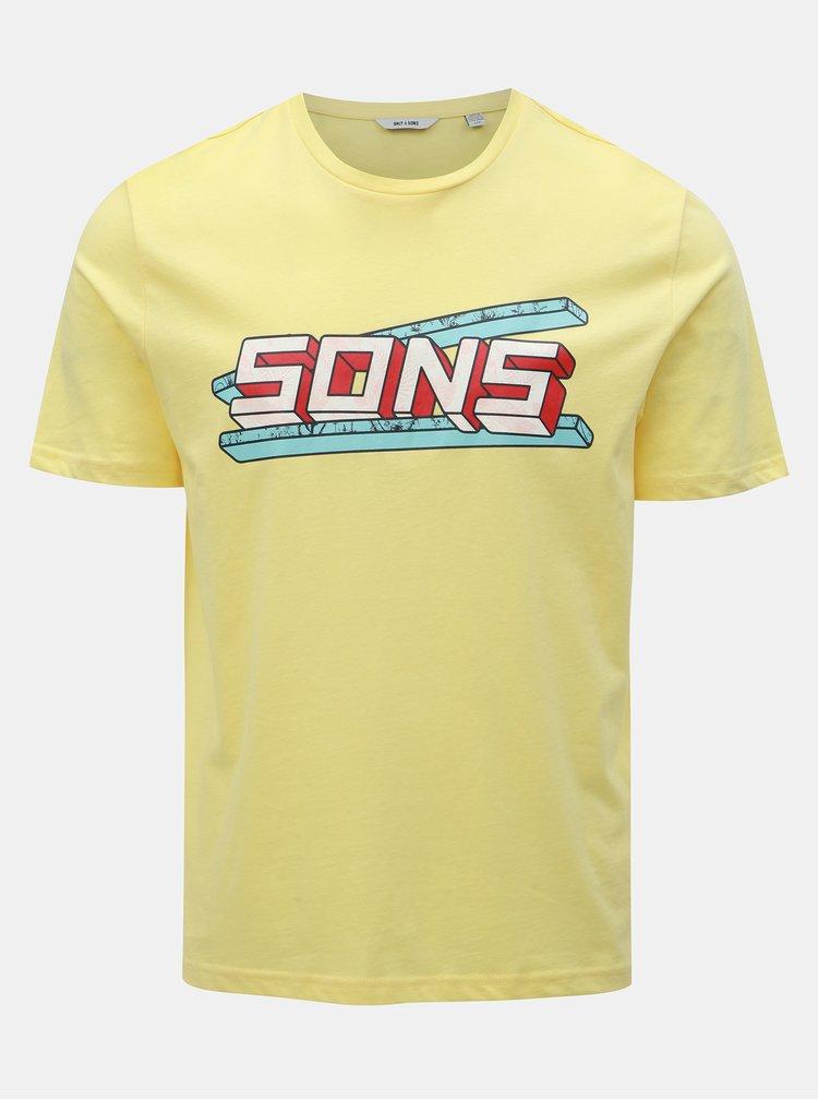 Žluté tričko s potiskem ONLY & SONS Pace