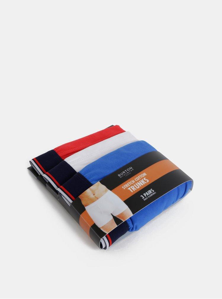 Set de 3 boxeri albastru, alb si rosu Burton Menswear London