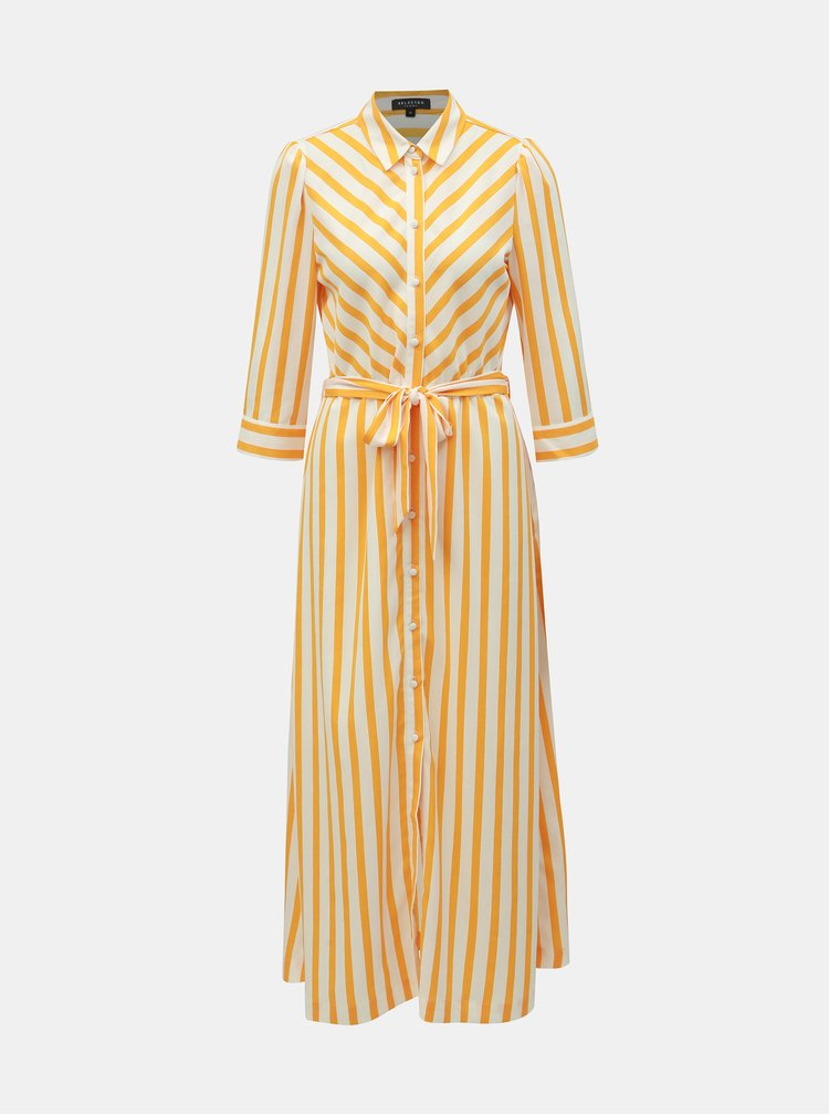 Bílo-žluté pruhované košilové maxišaty Selected Femme Dorit