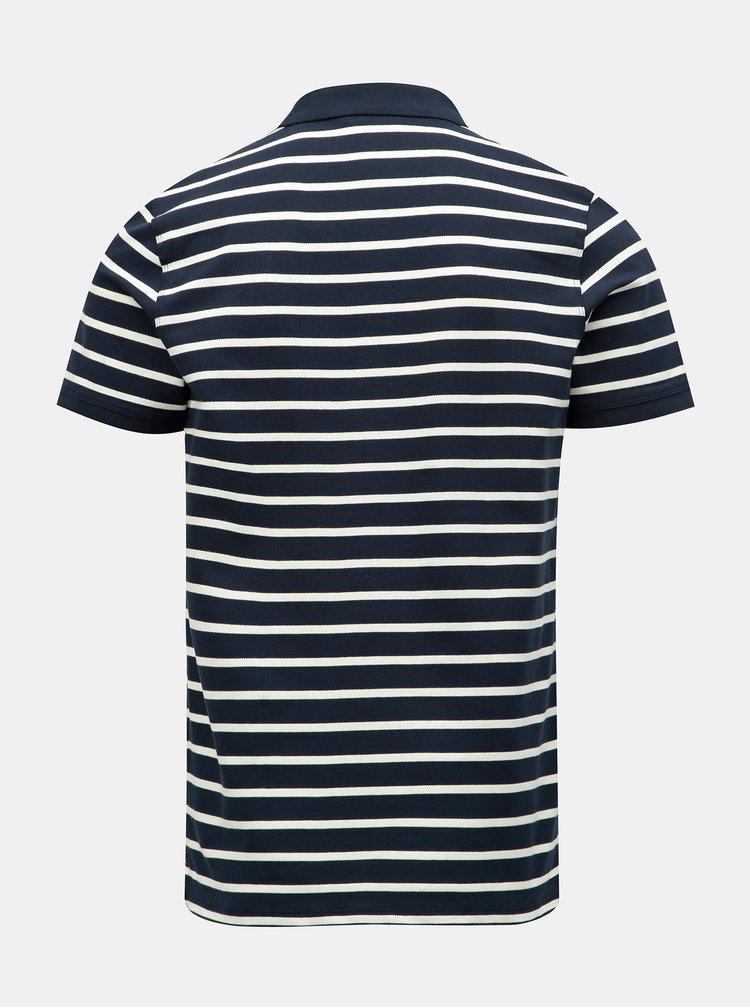 Tmavě modré pruhované polo tričko Selected Homme