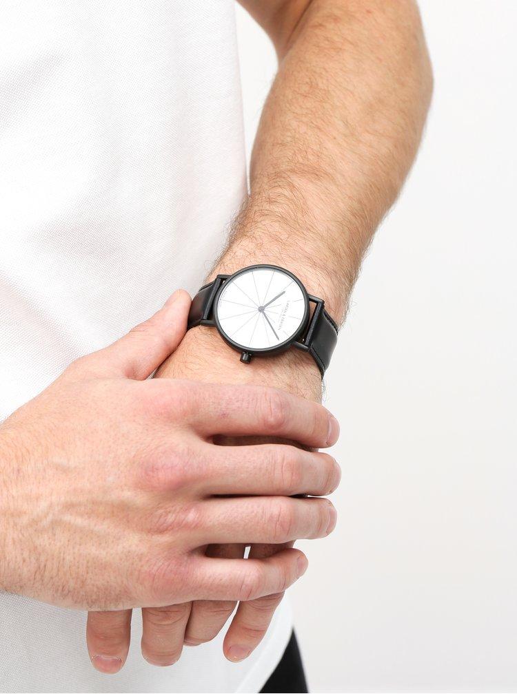 Ceas unisex negru cu curea din piele naturala - LARSEN & ERIKSEN