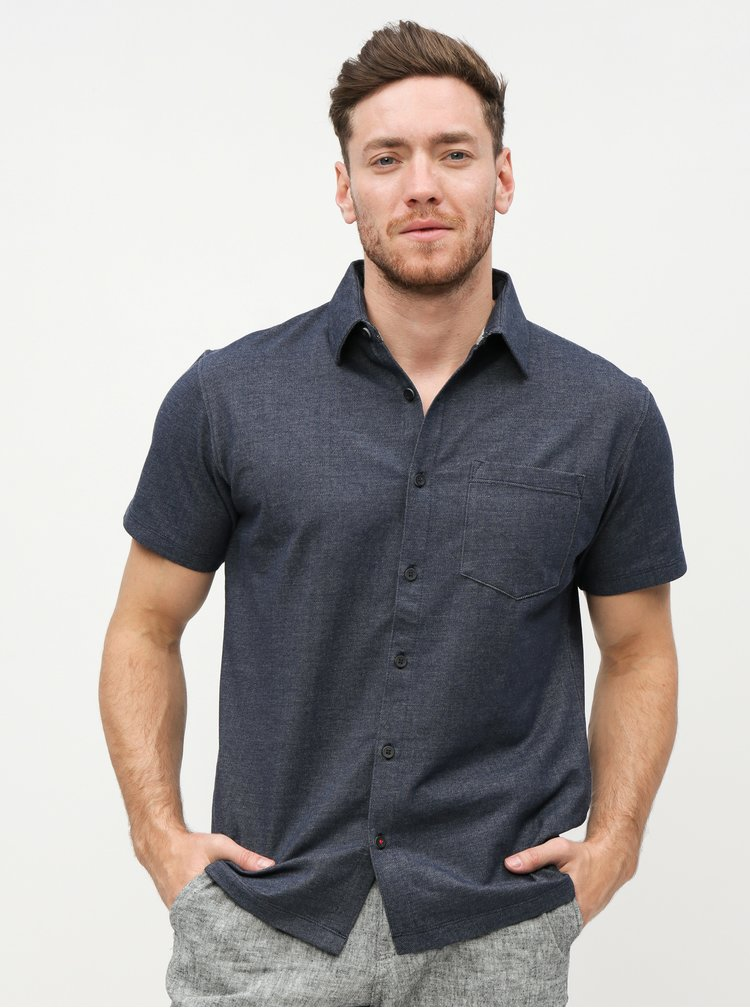 Tmavomodrá melírovaná slim fit košeľa Jack & Jones Owen