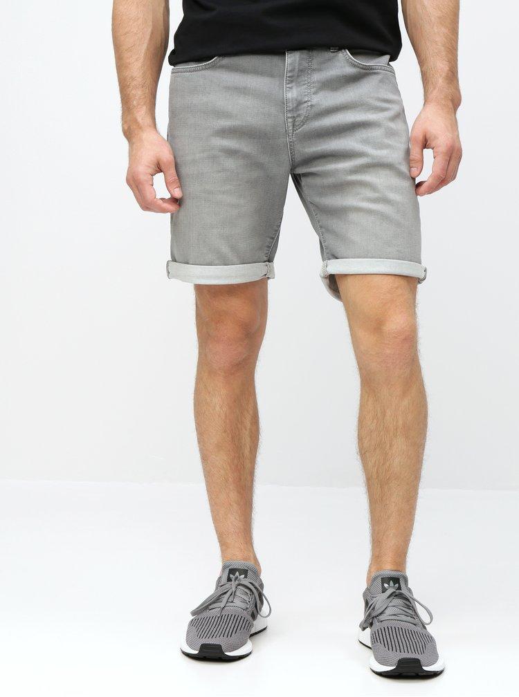 Sivé rifľové straight fit kraťasy Selected Homme Lucas