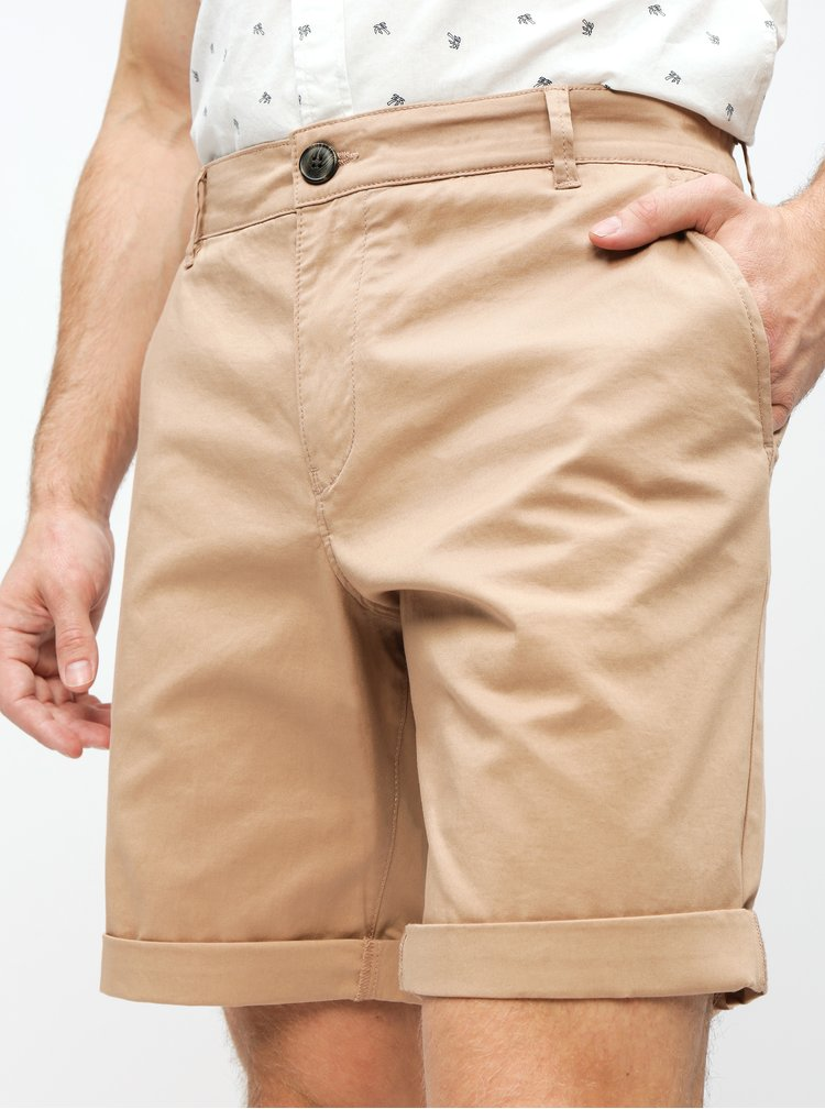 Béžové straight fit chino kraťasy Selected Homme