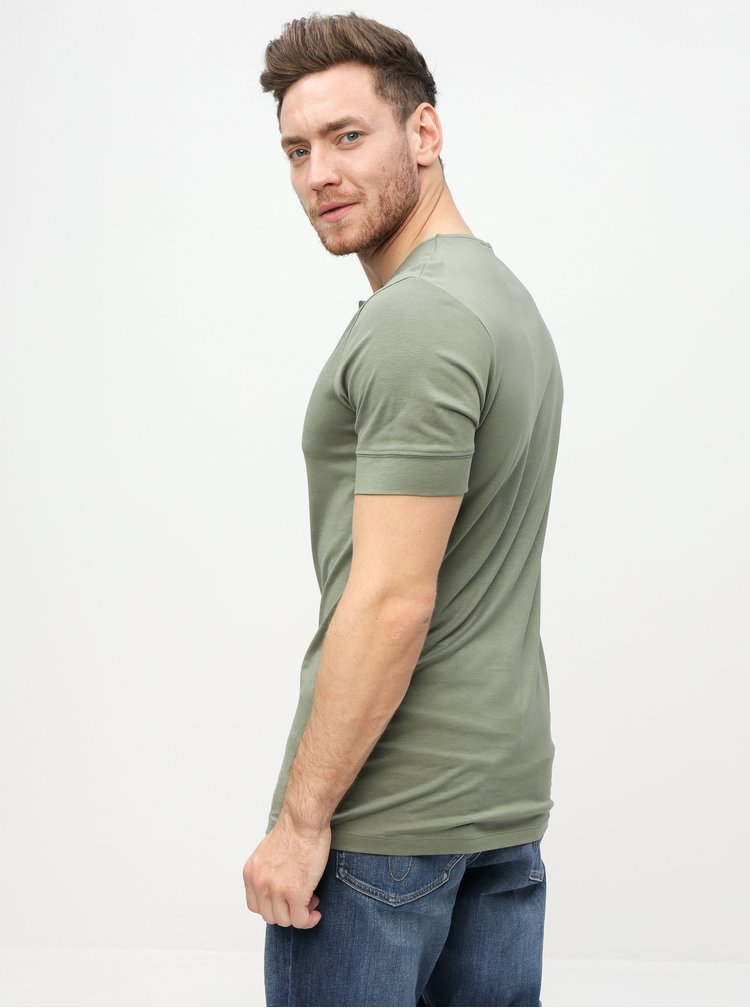 Khaki basic tričko Selected Homme Amos