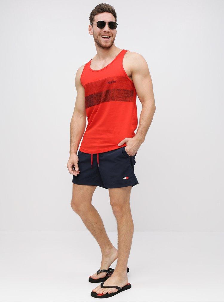 Tmavomodré pánske slim fit plavky Tommy Hilfiger