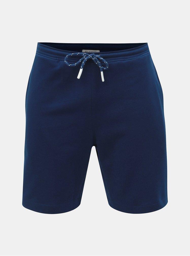 Tmavě modré teplákové basic kraťasy Selected Homme Simon