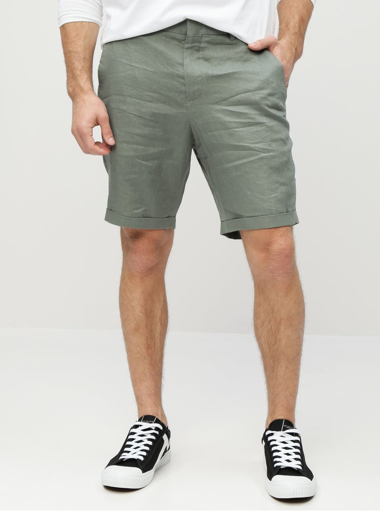 Zelené lněné tapered fit chino kraťasy Selected Homme Tapered