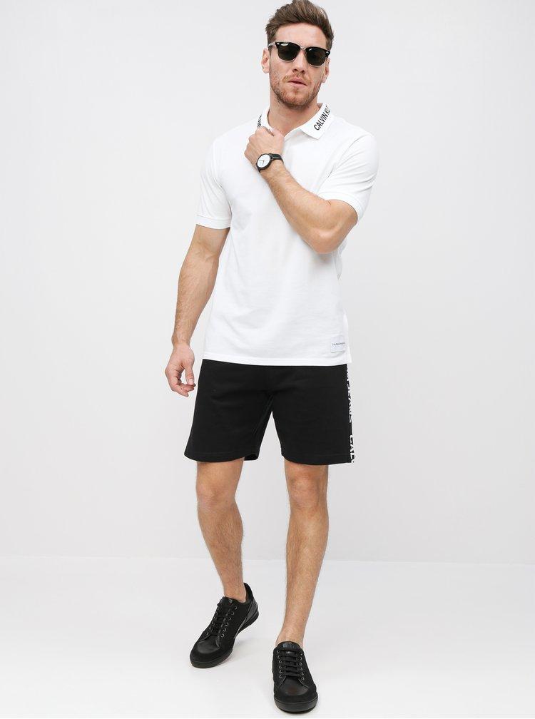 Černé pánské kraťasy s potiskem na nohavicích Calvin Klein Jeans