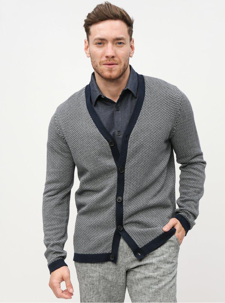 Cardigan gri-albastru cu model Selected Homme Jaz-Harring