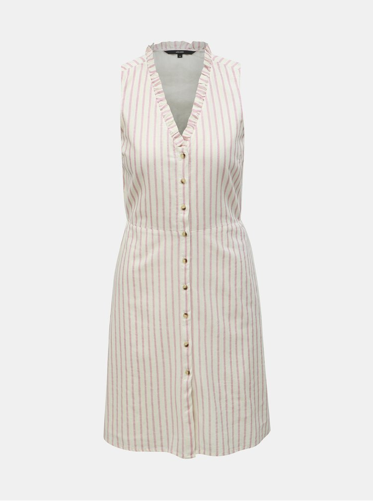 Bílo-růžové pruhované šaty VERO MODA Coco Stripy