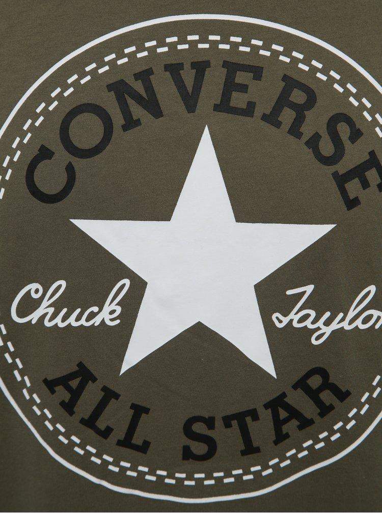 Tricou barbatesc kaki cu imprimeu Converse