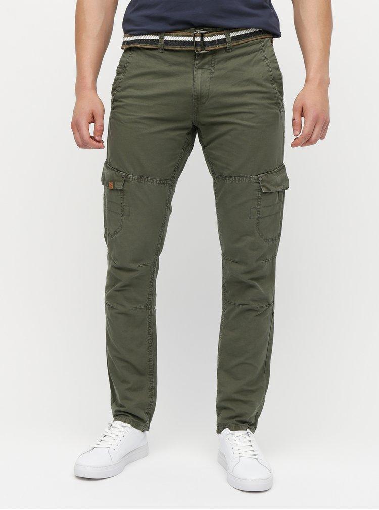 Pantaloni kaki regular fit cu buzunare si curea Blend