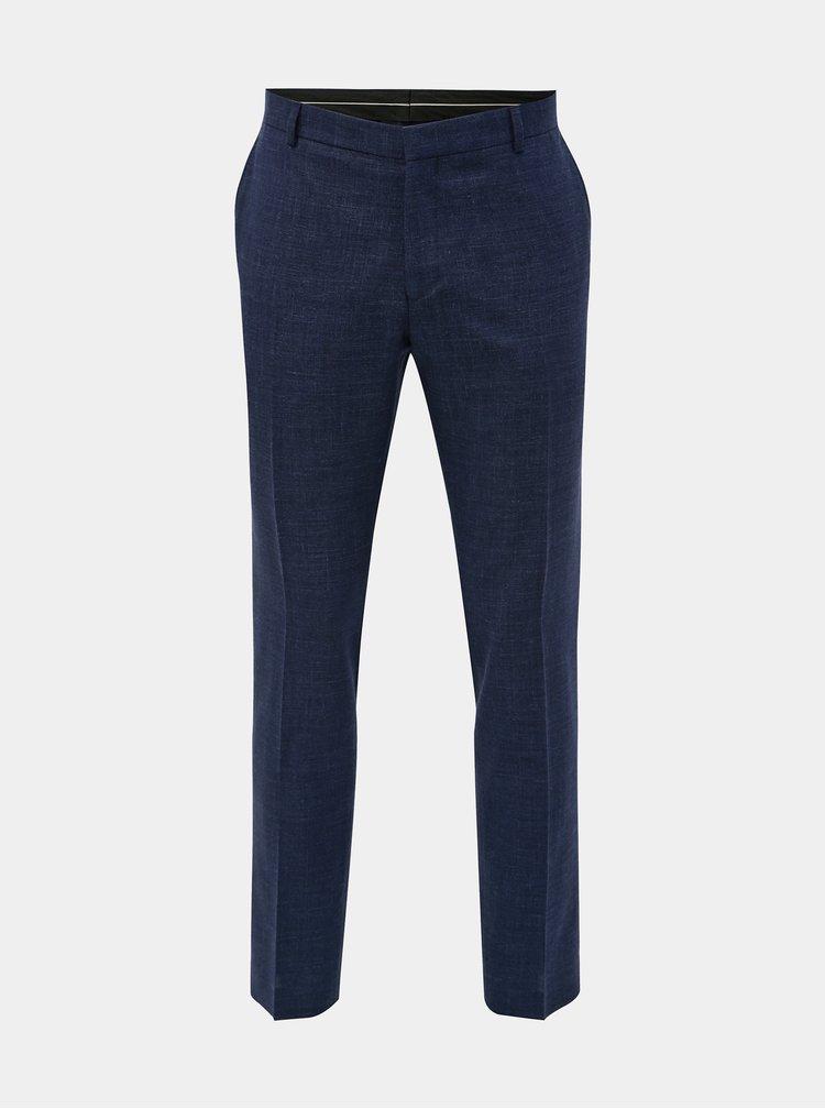 Tmavomodré oblekové slim fit nohavice s prímesou vlny a ľanu Selected Homme Bufallo